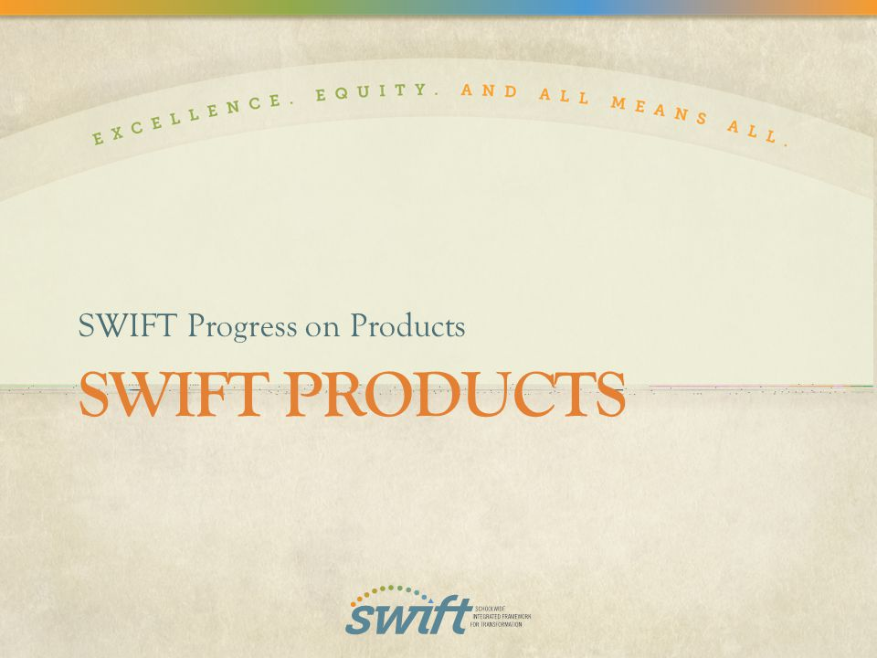 SWIFT PRODUCTS SWIFT Progress on Products