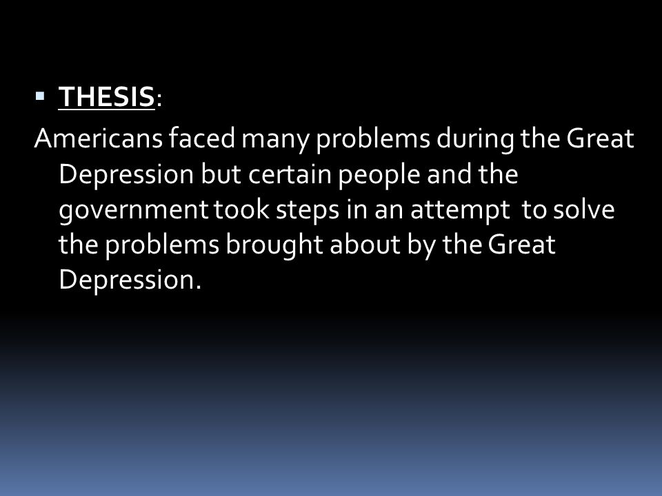 the great depression thesis