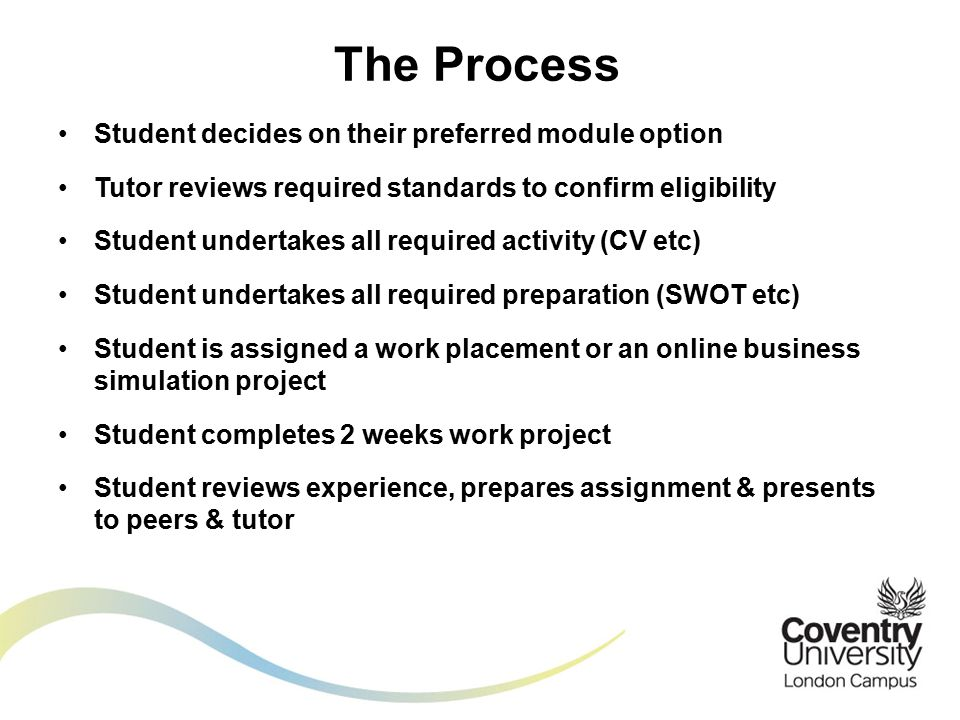 Student decides on their preferred module option Tutor reviews required standards to confirm eligibility Student undertakes all required activity (CV etc) Student undertakes all required preparation (SWOT etc) Student is assigned a work placement or an online business simulation project Student completes 2 weeks work project Student reviews experience, prepares assignment & presents to peers & tutor The Process