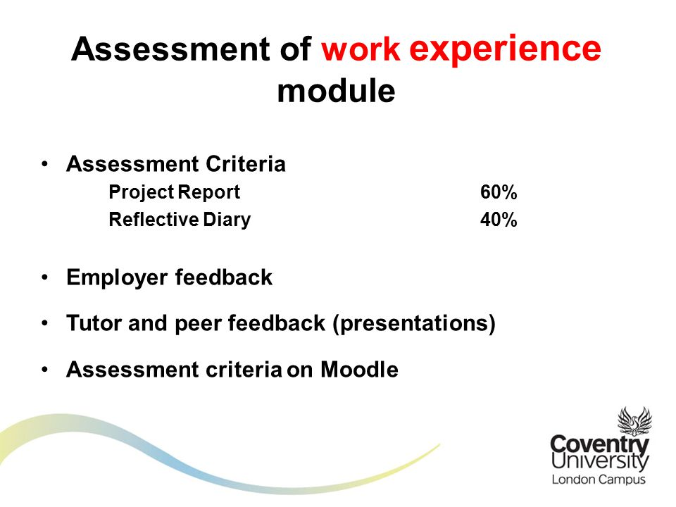 Assessment Criteria Project Report60% Reflective Diary40% Employer feedback Tutor and peer feedback (presentations) Assessment criteria on Moodle Assessment of work experience module