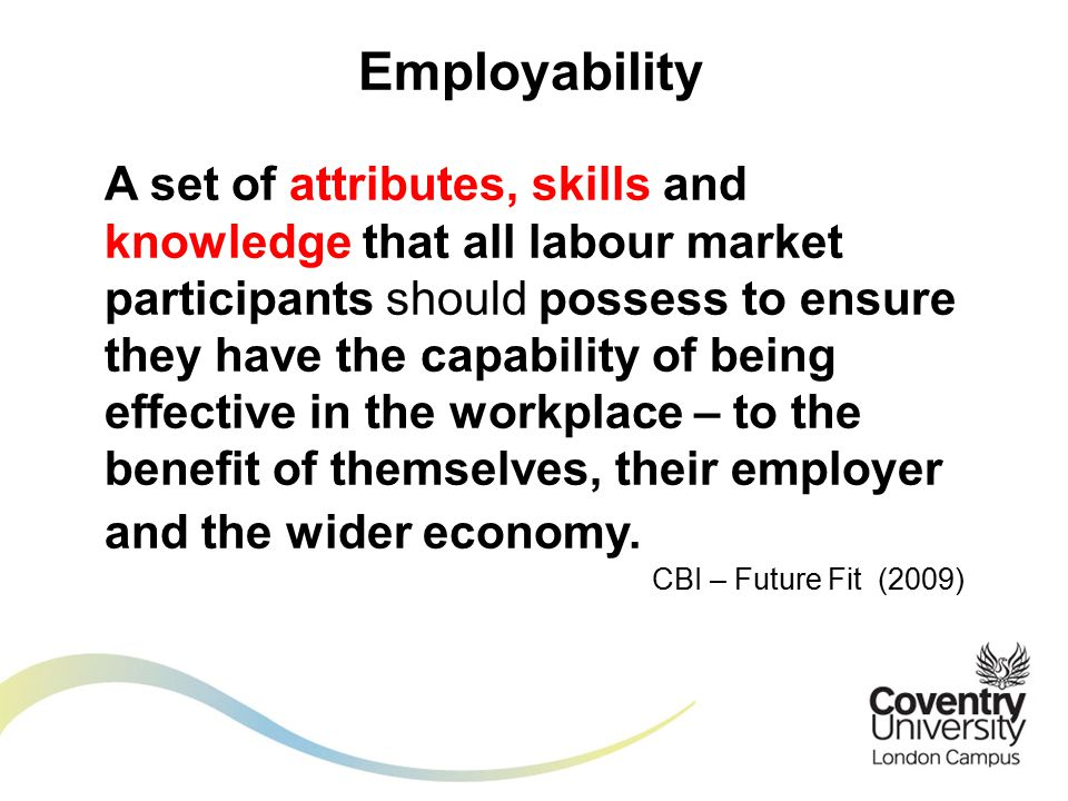 A set of attributes, skills and knowledge that all labour market participants should possess to ensure they have the capability of being effective in the workplace – to the benefit of themselves, their employer and the wider economy.