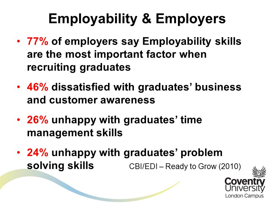 77% of employers say Employability skills are the most important factor when recruiting graduates 46% dissatisfied with graduates' business and customer awareness 26% unhappy with graduates' time management skills 24% unhappy with graduates' problem solving skills CBI/EDI – Ready to Grow (2010) Employability & Employers