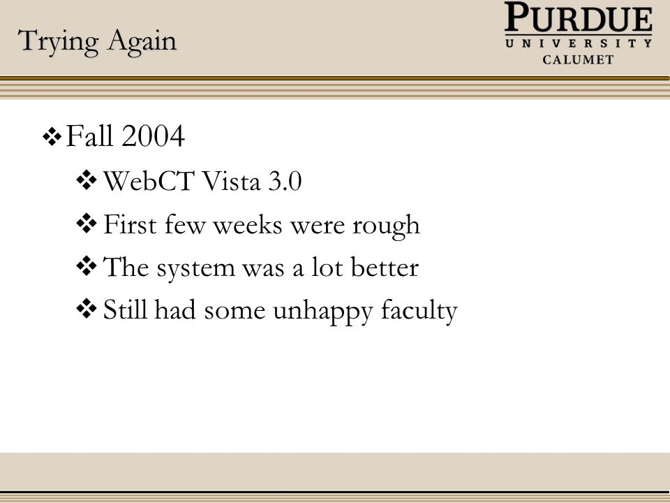 Trying Again  Fall 2004  WebCT Vista 3.0  First few weeks were rough  The system was a lot better  Still had some unhappy faculty