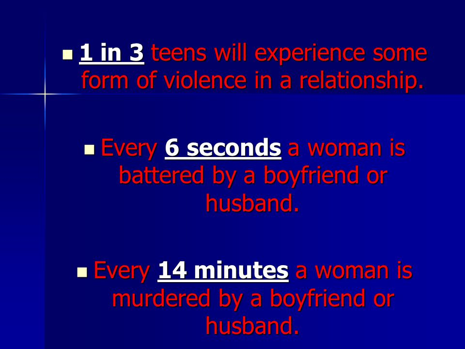 1 in 3 teens will experience some form of violence in a relationship.