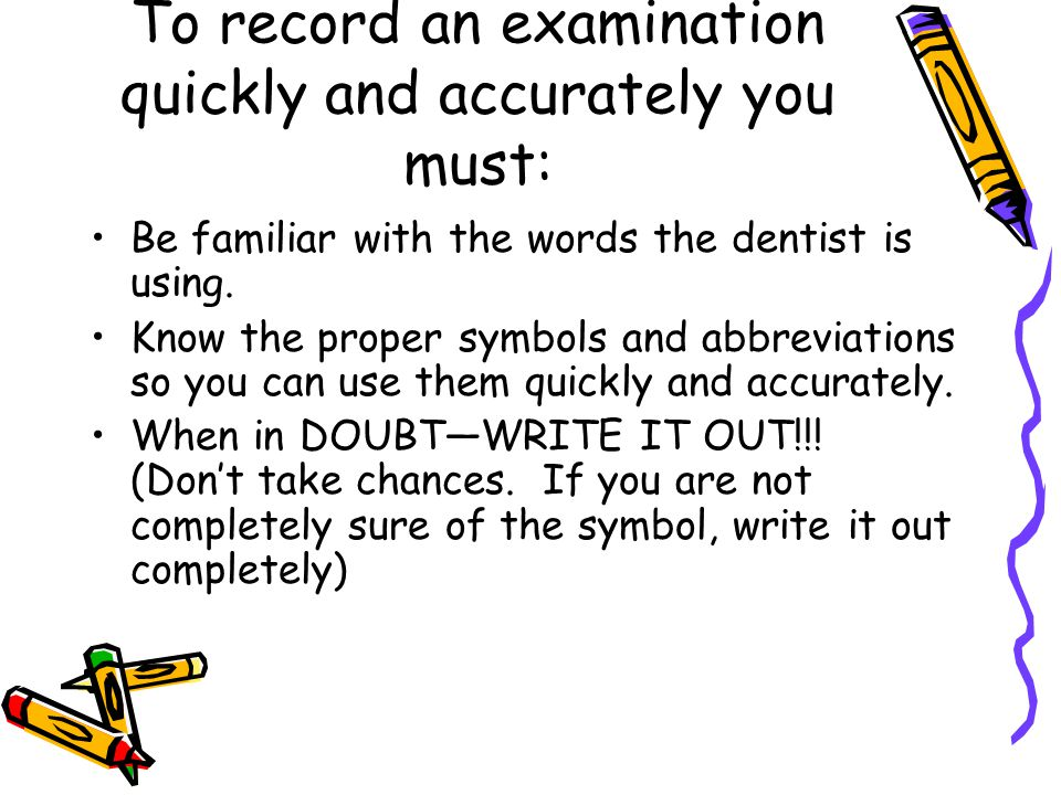 Introduction To Charting Sections Of The Dental Chart Personal