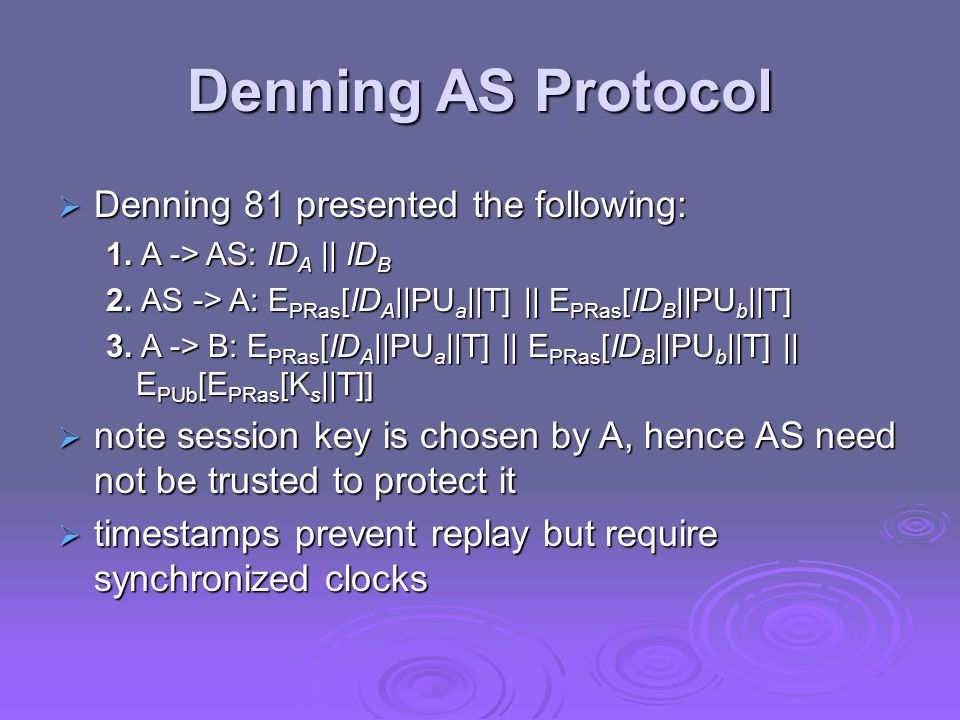 Denning AS Protocol  Denning 81 presented the following: 1.