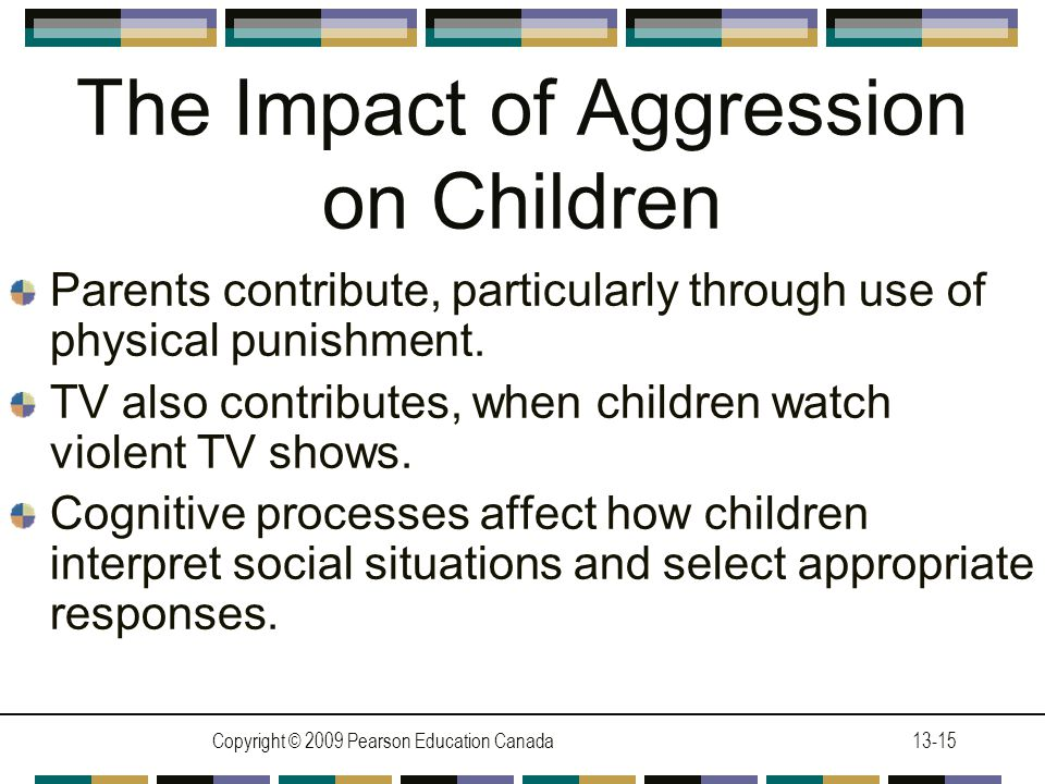 Copyright © 2009 Pearson Education Canada13-15 The Impact of Aggression on Children Parents contribute, particularly through use of physical punishment.