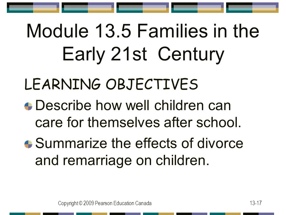 Copyright © 2009 Pearson Education Canada13-17 Module 13.5 Families in the Early 21st Century LEARNING OBJECTIVES Describe how well children can care for themselves after school.