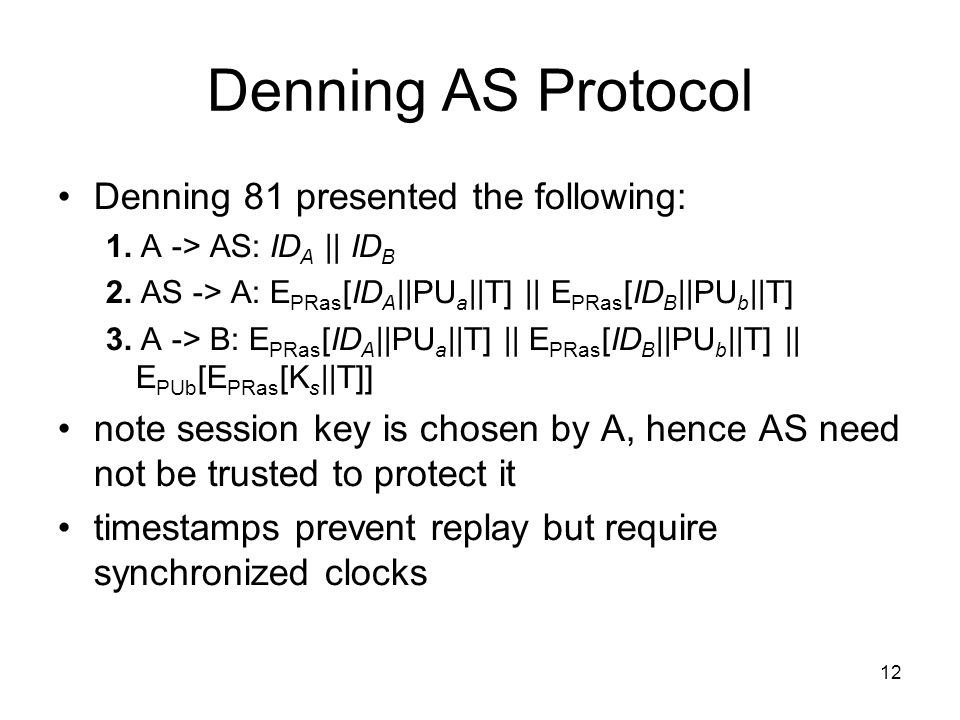 12 Denning AS Protocol Denning 81 presented the following: 1.