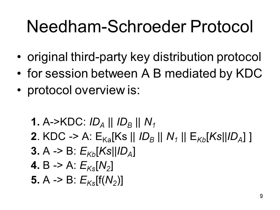 9 Needham-Schroeder Protocol original third-party key distribution protocol for session between A B mediated by KDC protocol overview is: 1.