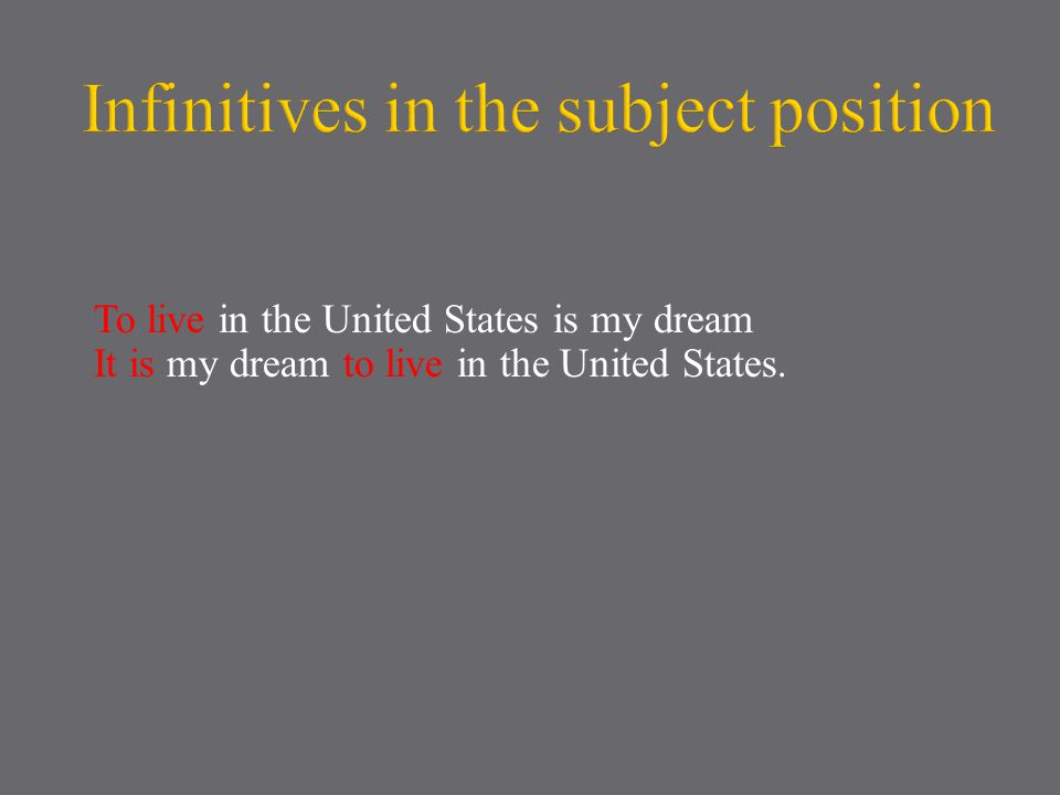 To live in the United States is my dream It is my dream to live in the United States.