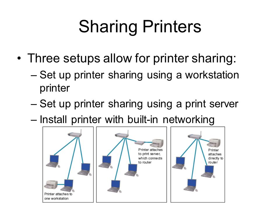 33 Sharing Printers Three setups allow for printer sharing: –Set up printer sharing using a workstation printer –Set up printer sharing using a print server –Install printer with built-in networking