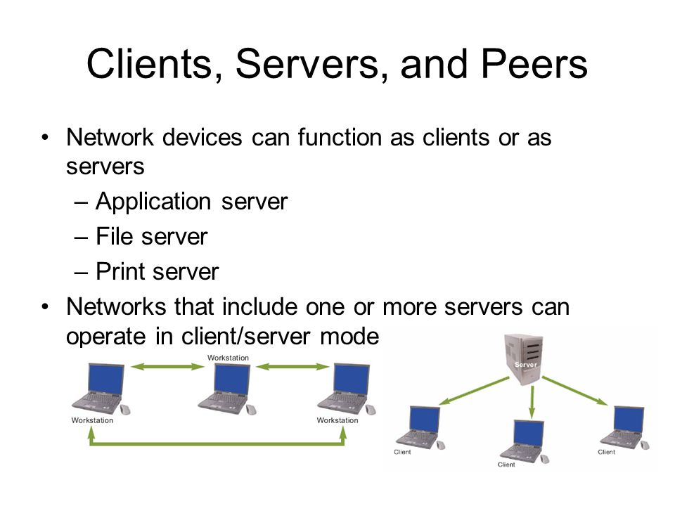 8 Clients, Servers, and Peers Network devices can function as clients or as servers –Application server –File server –Print server Networks that include one or more servers can operate in client/server mode