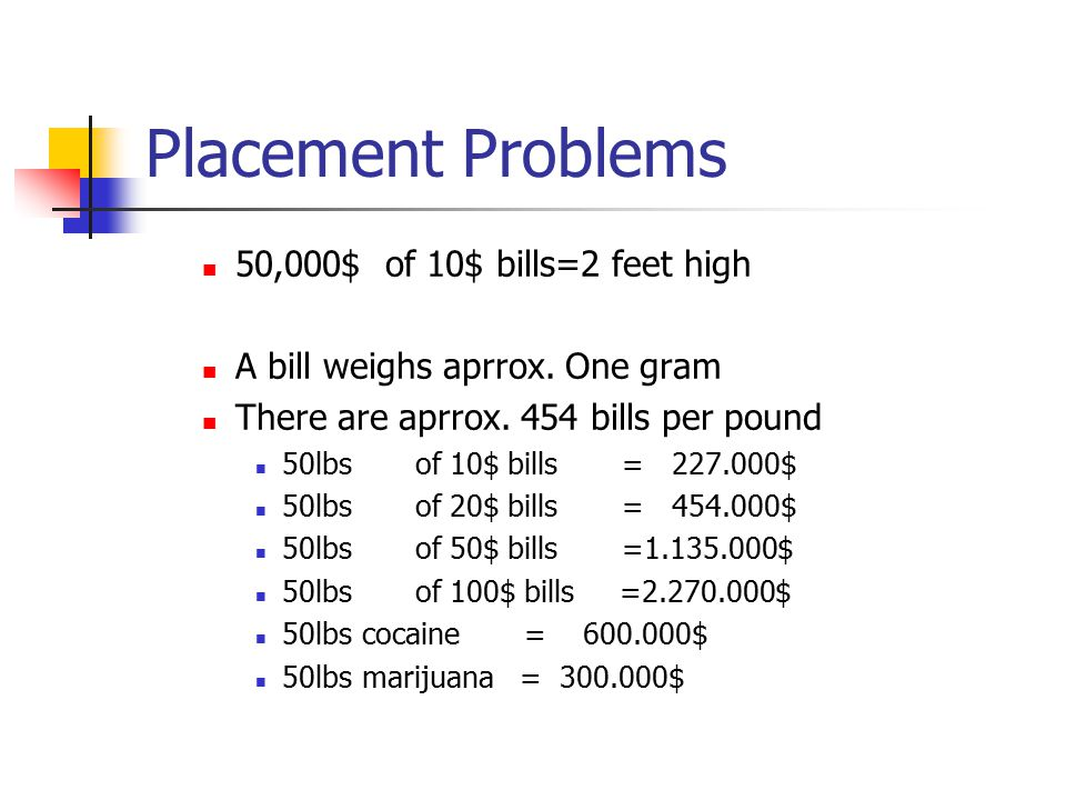 Placement Problems 50,000$ of 10$ bills=2 feet high A bill weighs aprrox.