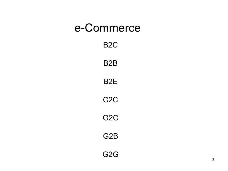 3 e-Commerce B2C B2B B2E C2C G2C G2B G2G