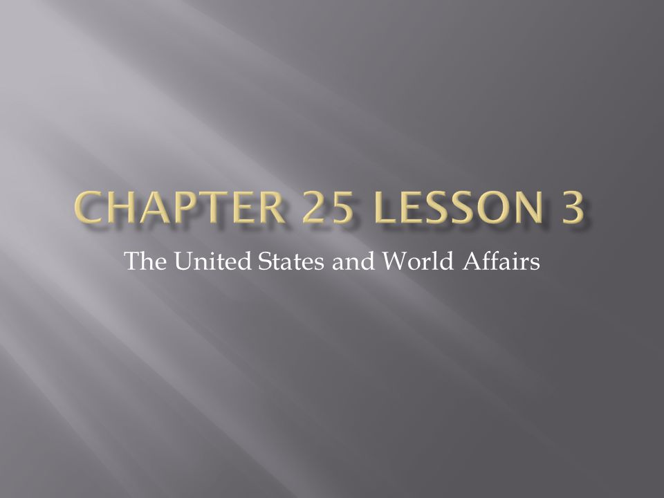 The United States and World Affairs