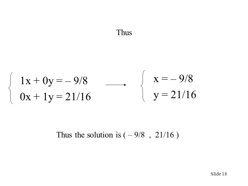 1x + 0y = – 9/8 0x + 1y = 21/16 Thus the solution is ( – 9/8, 21/16 ) Slide 18 Thus x = – 9/8 y = 21/16