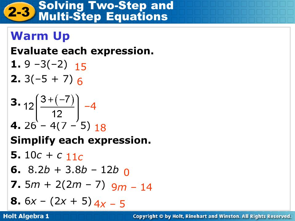 Algebra 1 Multi Step Equations Worksheet Answers - Tessshebaylo
