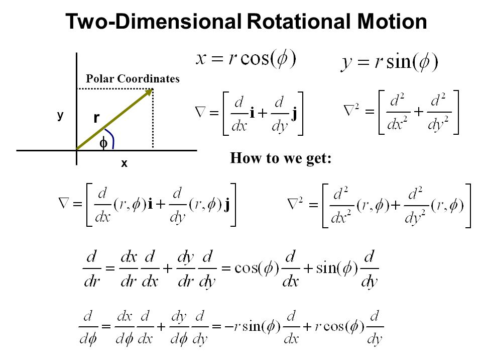 Two-Dimensional Rotational Motion x y  r How to we get: Polar Coordinates