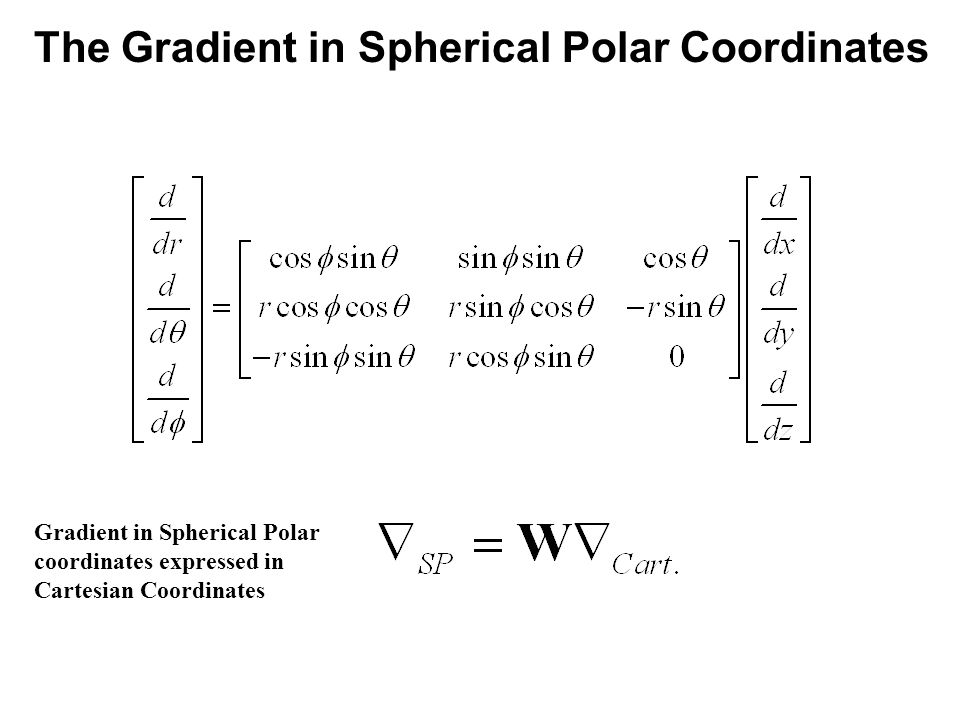 14_01fig_PChem.jpg The Gradient in Spherical Polar Coordinates Gradient in Spherical Polar coordinates expressed in Cartesian Coordinates