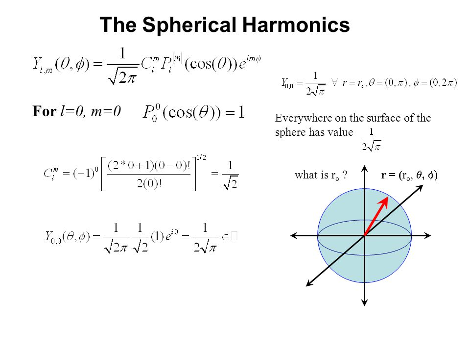 The Spherical Harmonics For l=0, m=0 Everywhere on the surface of the sphere has value what is r o .