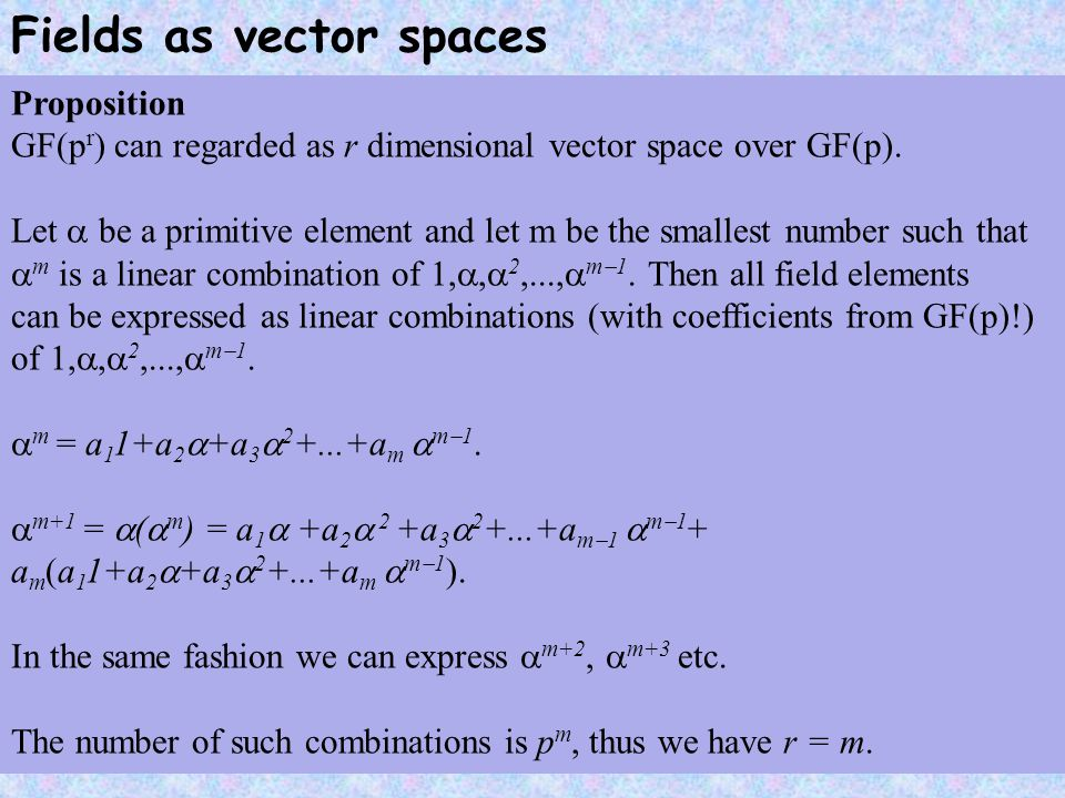 Fields as vector spaces Proposition GF(p r ) can regarded as r dimensional vector space over GF(p).
