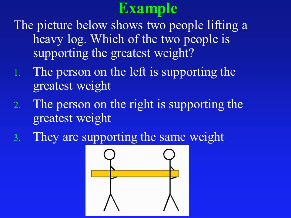 Example The picture below shows two people lifting a heavy log.