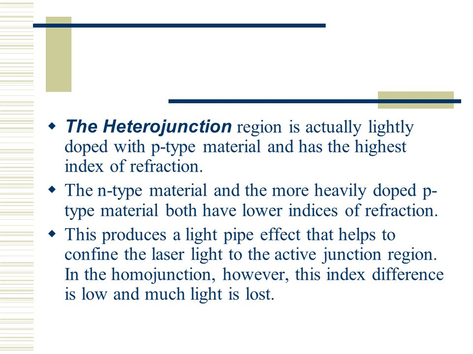  The Heterojunction region is actually lightly doped with p-type material and has the highest index of refraction.