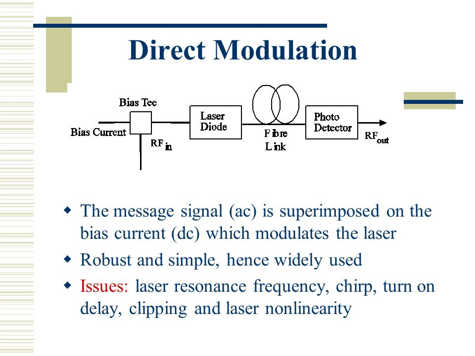 Direct Modulation  The message signal (ac) is superimposed on the bias current (dc) which modulates the laser  Robust and simple, hence widely used  Issues: laser resonance frequency, chirp, turn on delay, clipping and laser nonlinearity