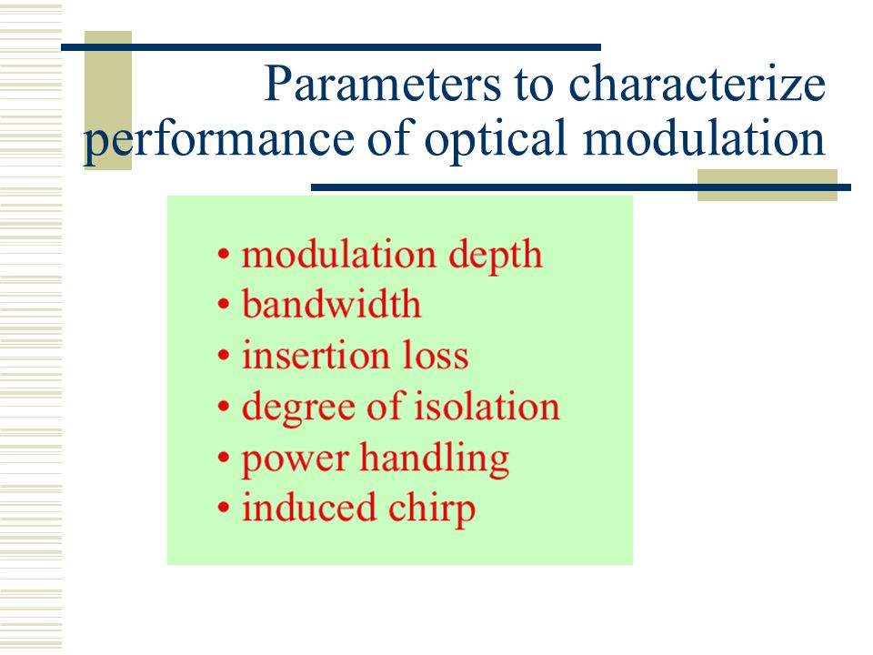 Parameters to characterize performance of optical modulation