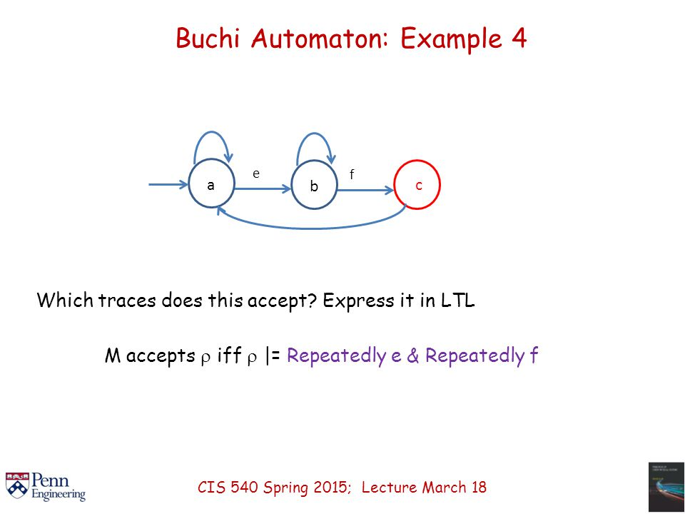 Buchi Automaton: Example 4 a e c b f Which traces does this accept.