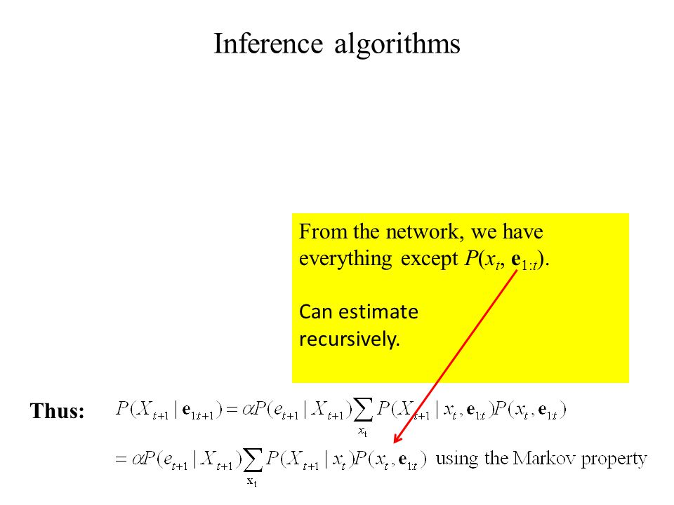 Inference algorithms From the network, we have everything except P(x t, e 1:t ).