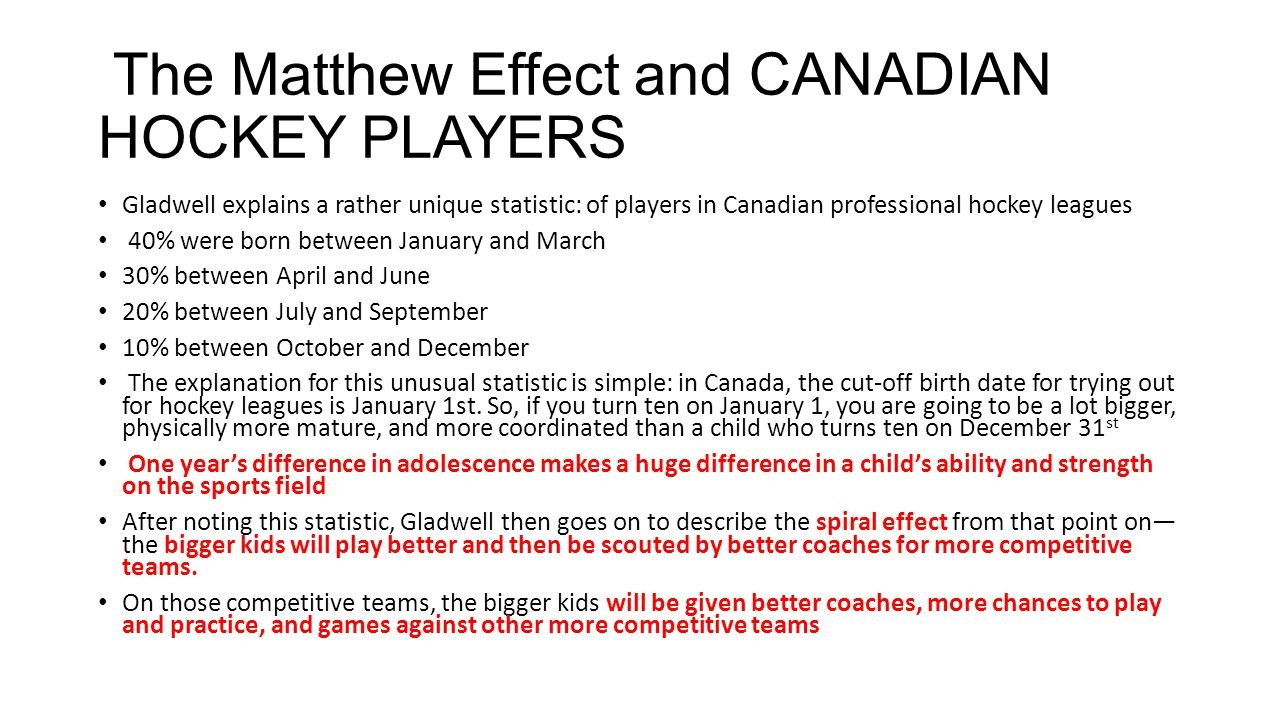 The Matthew Effect and CANADIAN HOCKEY PLAYERS Gladwell explains a rather unique statistic: of players in Canadian professional hockey leagues 40% were born between January and March 30% between April and June 20% between July and September 10% between October and December The explanation for this unusual statistic is simple: in Canada, the cut-off birth date for trying out for hockey leagues is January 1st.