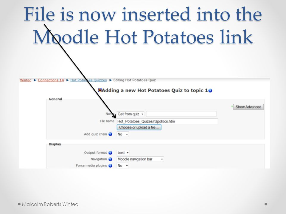 File is now inserted into the Moodle Hot Potatoes link Malcolm Roberts Wintec