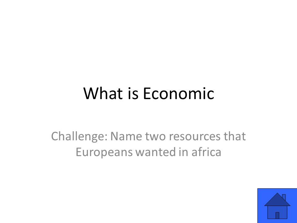 What is Economic Challenge: Name two resources that Europeans wanted in africa