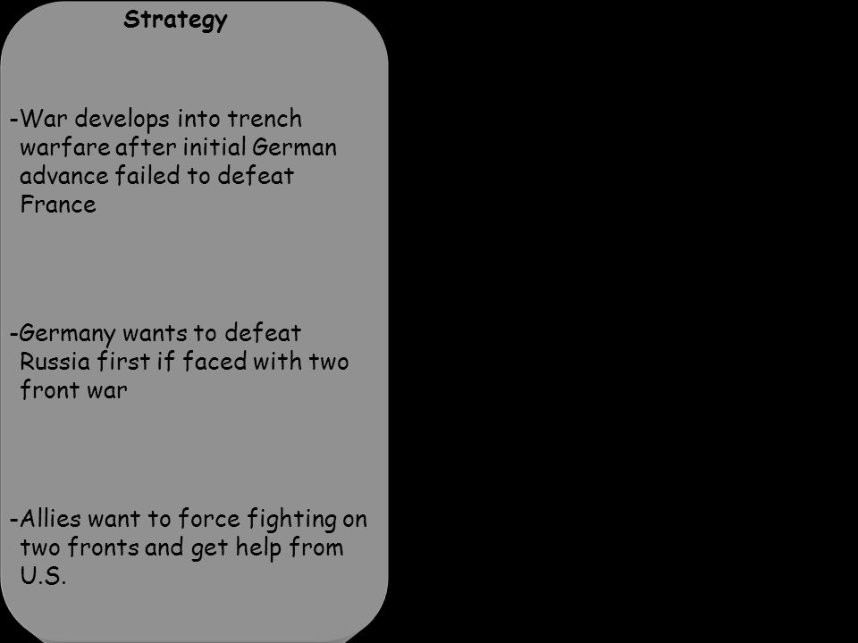 Strategy -War develops into trench warfare after initial German advance failed to defeat France -Germany wants to defeat Russia first if faced with two front war -Allies want to force fighting on two fronts and get help from U.S.