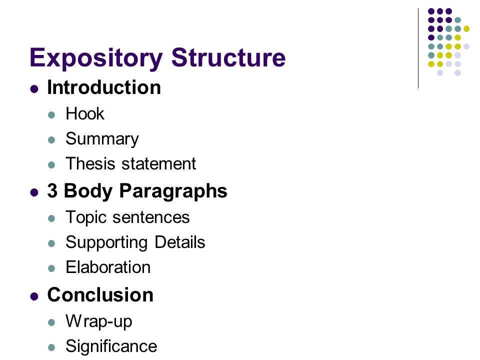 expository essay introduction structure How is expository writing different from narrative writing determine the organizational structure that is most appropriate for the essay needs: introduction.