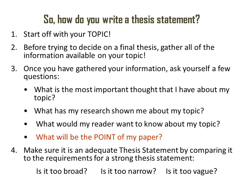 How To Write A Thesis Statement - Examples Of Thesis