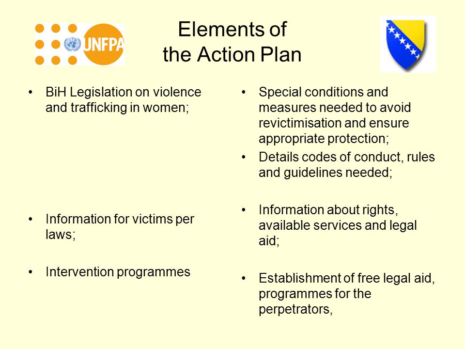 Elements of the Action Plan BiH Legislation on violence and trafficking in women; Information for victims per laws; Intervention programmes Special conditions and measures needed to avoid revictimisation and ensure appropriate protection; Details codes of conduct, rules and guidelines needed; Information about rights, available services and legal aid; Establishment of free legal aid, programmes for the perpetrators,