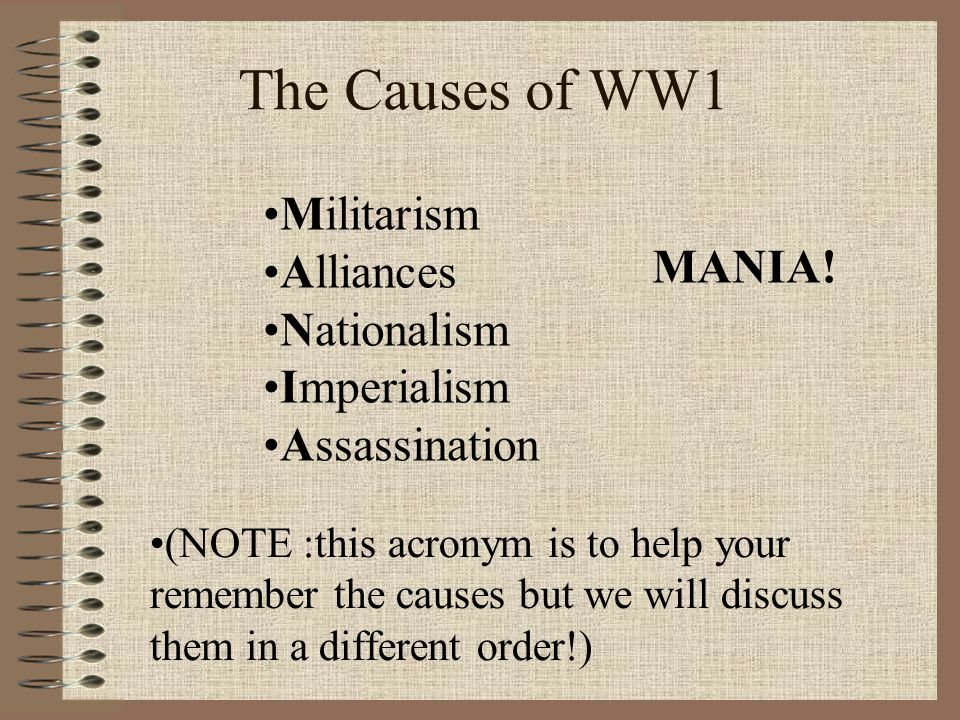 Essay for causes of ww1 acronym