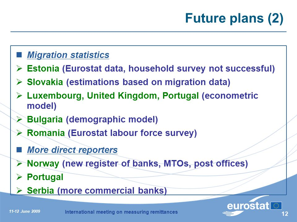 11-12 June 2009 International meeting on measuring remittances 12 Future plans (2) Migration statistics  Estonia (Eurostat data, household survey not successful)  Slovakia (estimations based on migration data)  Luxembourg, United Kingdom, Portugal (econometric model)  Bulgaria (demographic model)  Romania (Eurostat labour force survey) More direct reporters  Norway (new register of banks, MTOs, post offices)  Portugal  Serbia (more commercial banks)