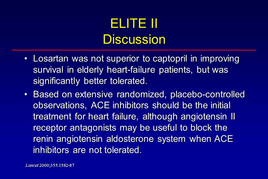 ELITE II Discussion Losartan was not superior to captopril in improving survival in elderly heart-failure patients, but was significantly better tolerated.Losartan was not superior to captopril in improving survival in elderly heart-failure patients, but was significantly better tolerated.