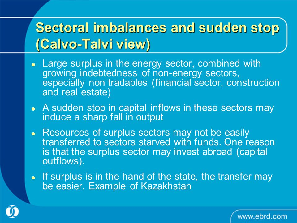Sectoral imbalances and sudden stop (Calvo-Talvi view) Large surplus in the energy sector, combined with growing indebtedness of non-energy sectors, especially non tradables (financial sector, construction and real estate) A sudden stop in capital inflows in these sectors may induce a sharp fall in output Resources of surplus sectors may not be easily transferred to sectors starved with funds.