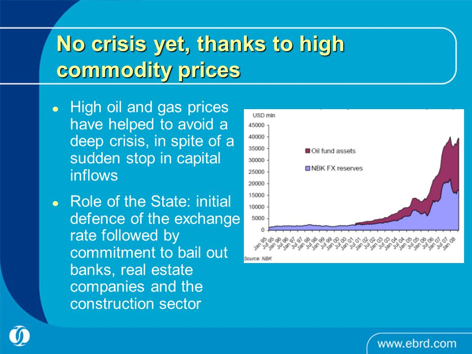 No crisis yet, thanks to high commodity prices High oil and gas prices have helped to avoid a deep crisis, in spite of a sudden stop in capital inflows Role of the State: initial defence of the exchange rate followed by commitment to bail out banks, real estate companies and the construction sector