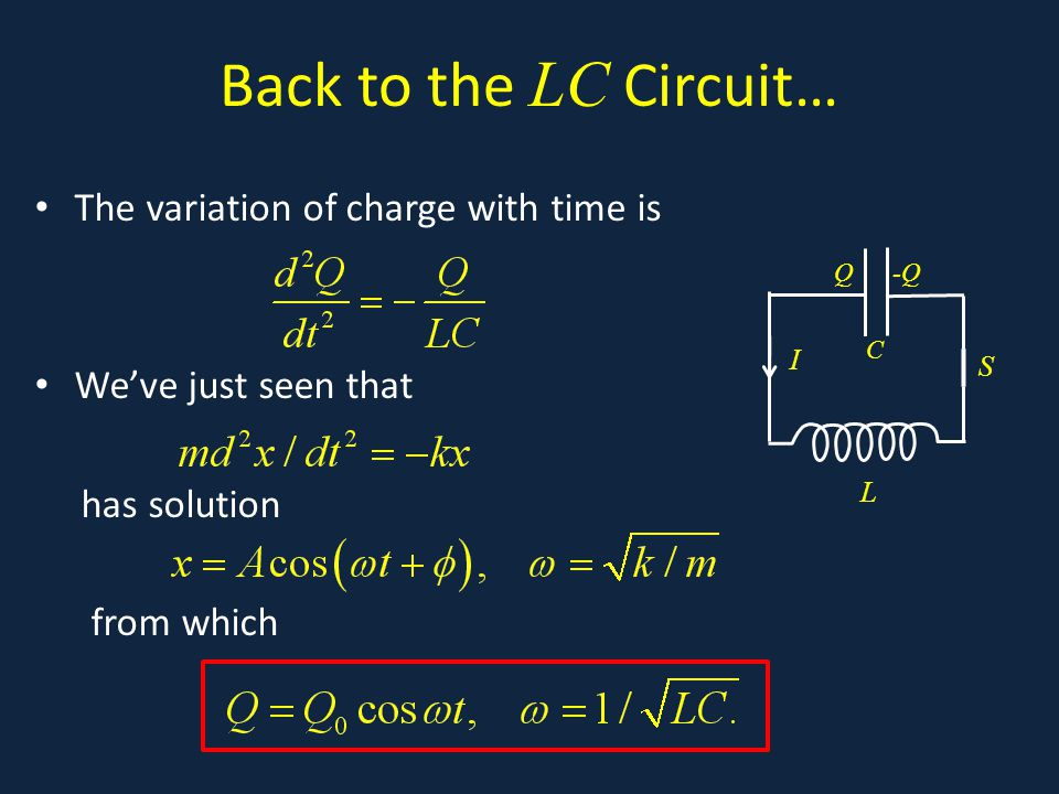 Back to the LC Circuit… The variation of charge with time is We've just seen that has solution from which.