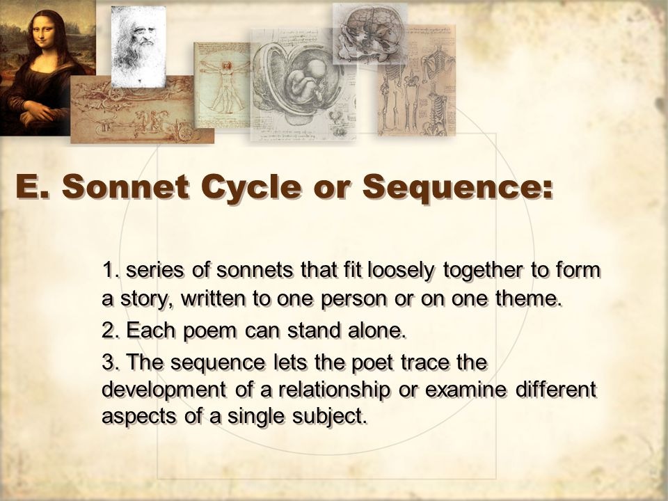 E. Sonnet Cycle or Sequence: 1.