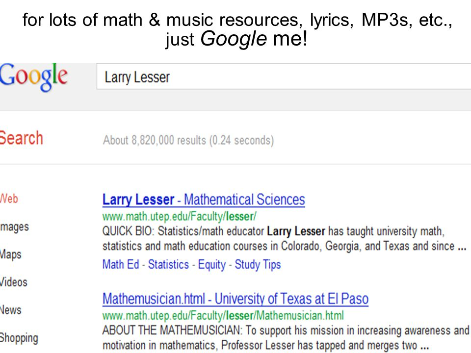 """Lyric songs about texas lyrics : Larry Lesser """"Math Song Sing-Along: Formula for a Hit!"""" join me on ..."""