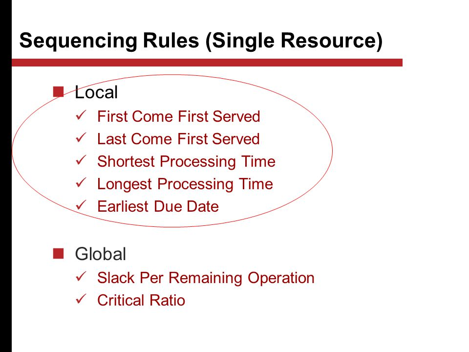 Sequencing Rules (Single Resource) Local First Come First Served Last Come First Served Shortest Processing Time Longest Processing Time Earliest Due Date Global Slack Per Remaining Operation Critical Ratio