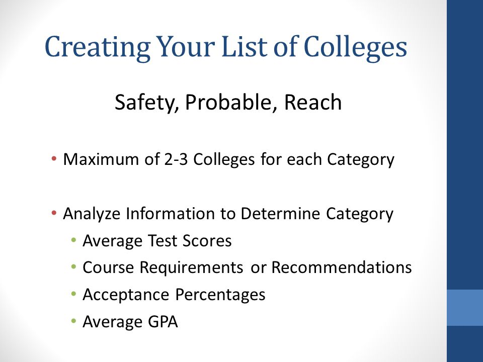 Creating Your List of Colleges Safety, Probable, Reach Maximum of 2-3 Colleges for each Category Analyze Information to Determine Category Average Test Scores Course Requirements or Recommendations Acceptance Percentages Average GPA