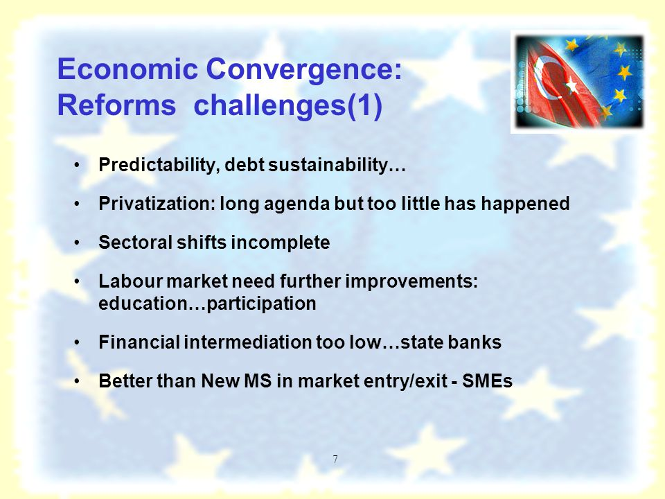 6 Convergence to 'functioning market economy' and EU accession process completing the reform agenda –Macroeconomic stability Structural reforms: narrowing productivity differential and gap, financial intermediation, …decades of postponed structural reform in Turkey Market institutions and regulations meeting economic Copenhagen criteria –A question of track-record and keeping to reform path